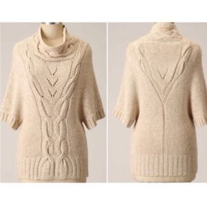 Anthro Guinevere Cowl Neck Cable Knit Sweater